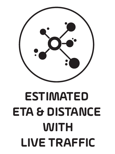 ESTIMATED ETA & DISTANCE WITH LIVE TRAFFIC