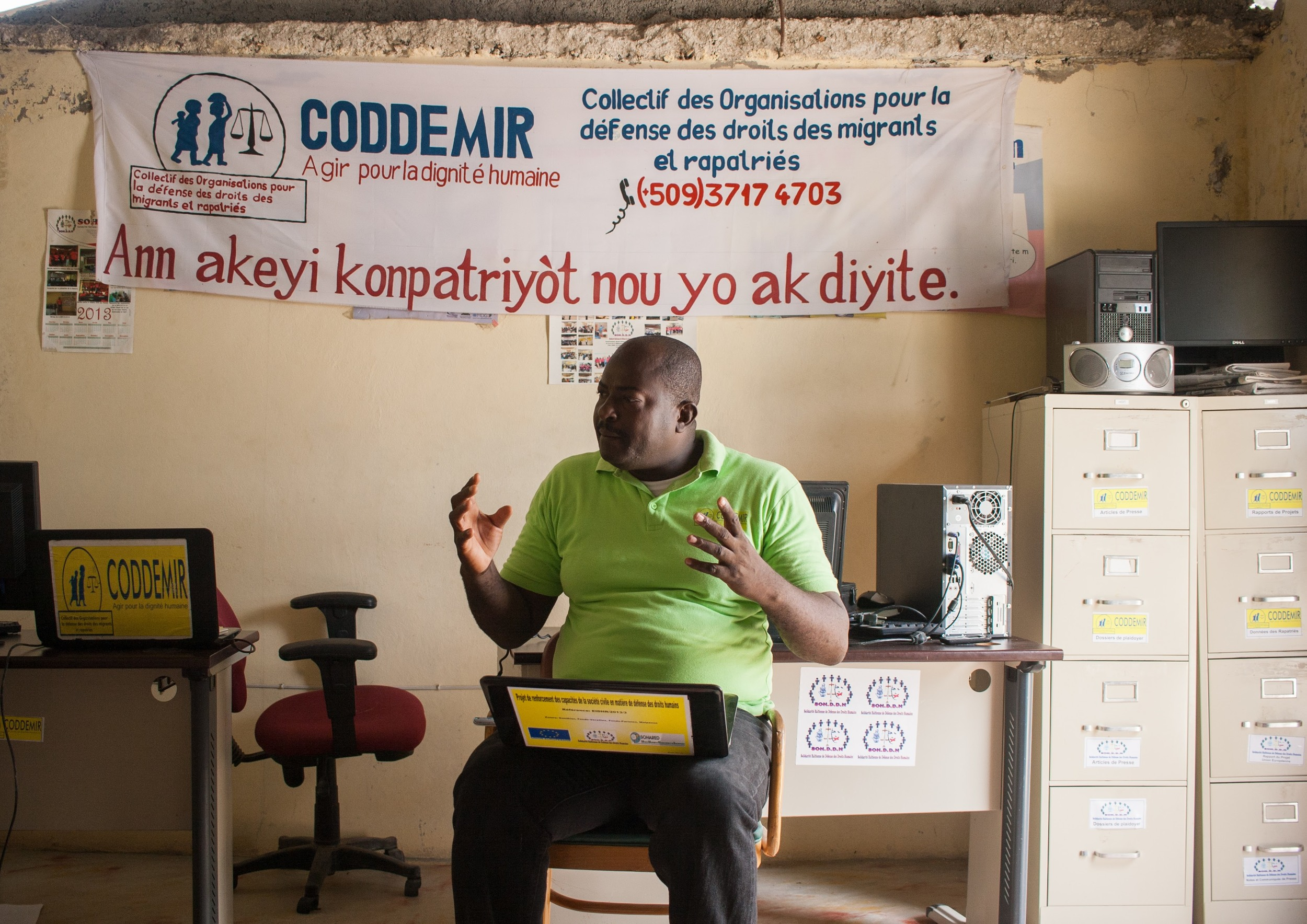 """""""When one person's human rights are violated, everyone's rights are violated"""" -Pierre Garot Nere, Coordinator of CODDEMIR, at CODDEMIR's offices in Malpasse, Haiti. Anna Vogt."""