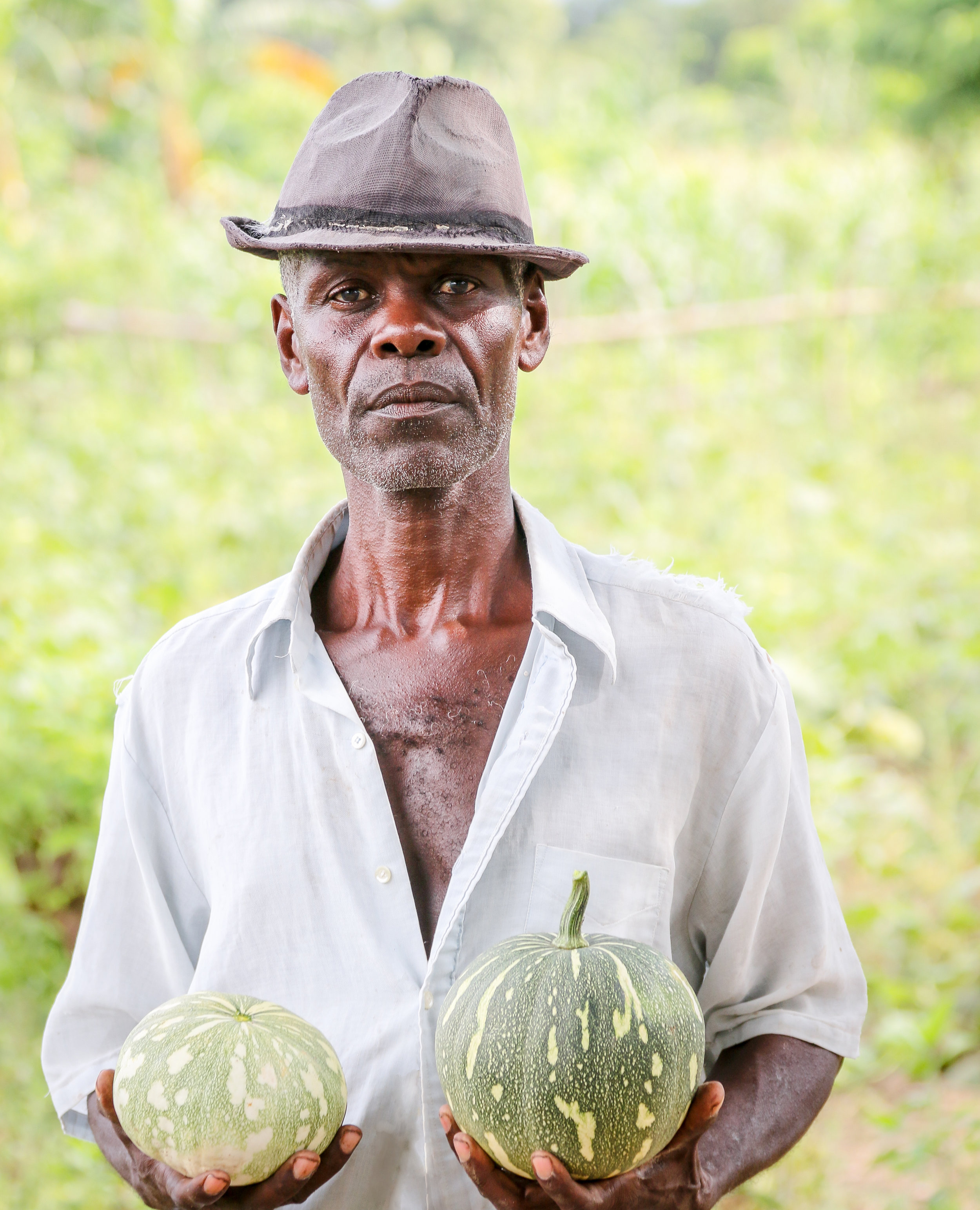 Dieujuste Saint-Surain stands in his field in Senk-Pòt, Haiti, holding up two freshly harvested joumou