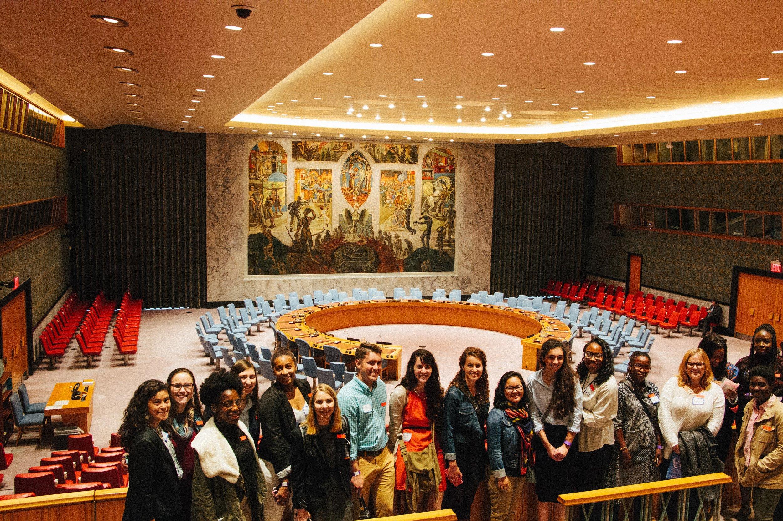 Participants in the MCC UN Student Seminar take a tour of the UN. MCC Photo/ Emma Cabana