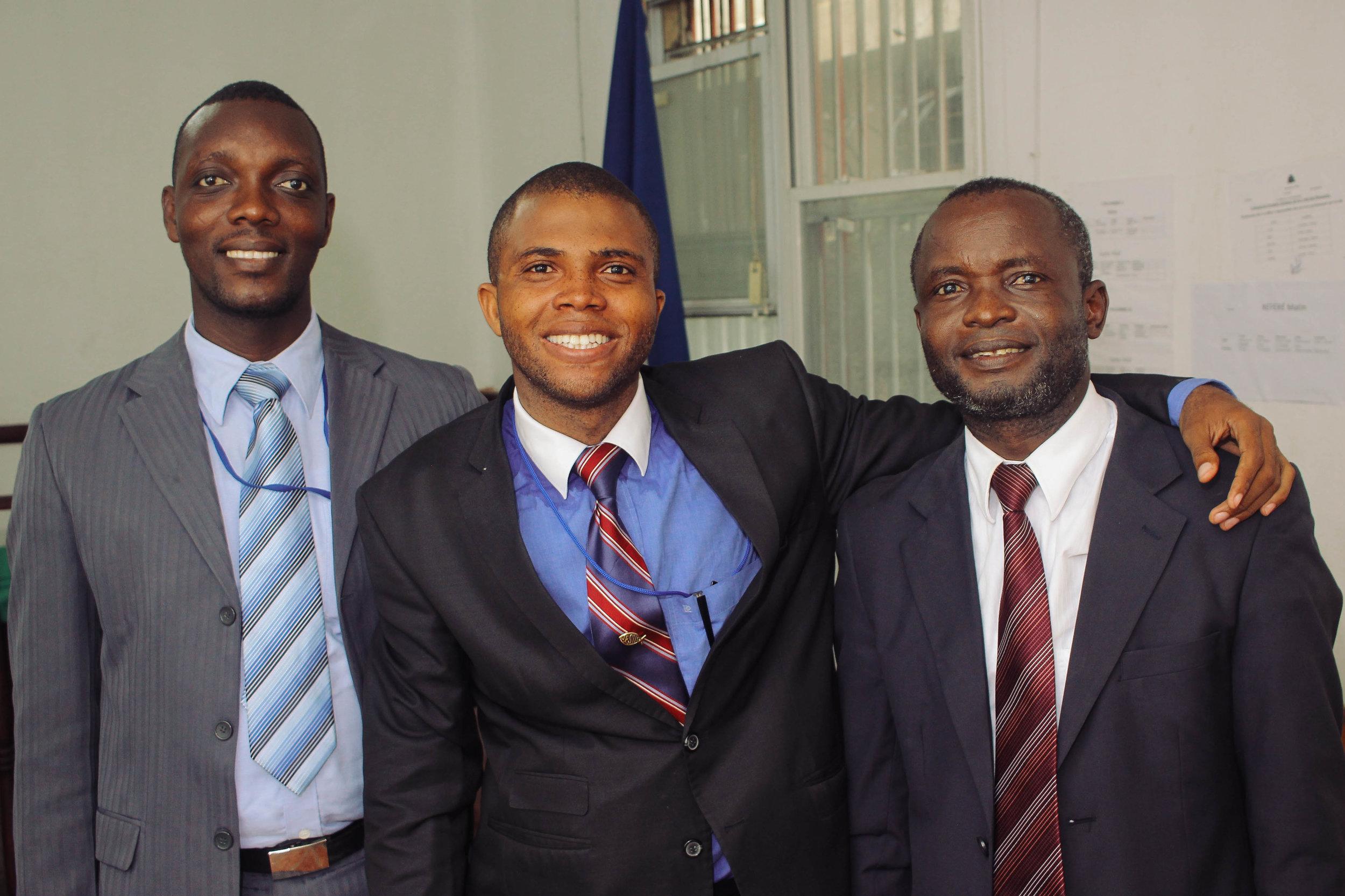 (left to right) Siméon Jean, Siméon Valet and Pastor Venel Lundy
