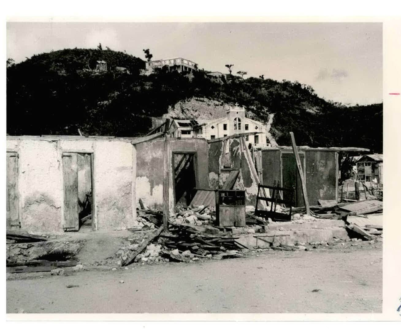 Homes destroyed by Hurricane Flora in Cotes de Fer, Haiti in 1962
