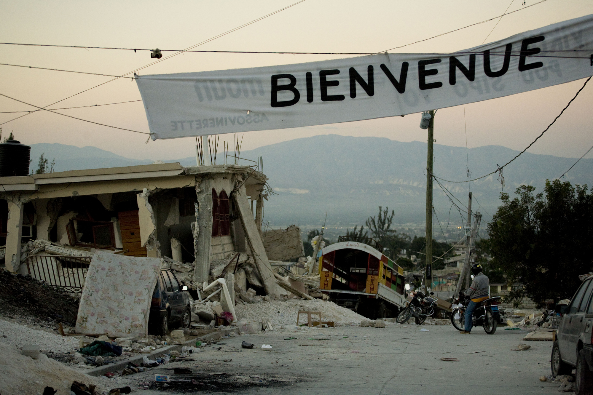 Homes, businesses and government buildings were destroyed after an earthquake struck Port-au-Prince on January 12, 2010. Pictured are homes destroyed in Petionville.