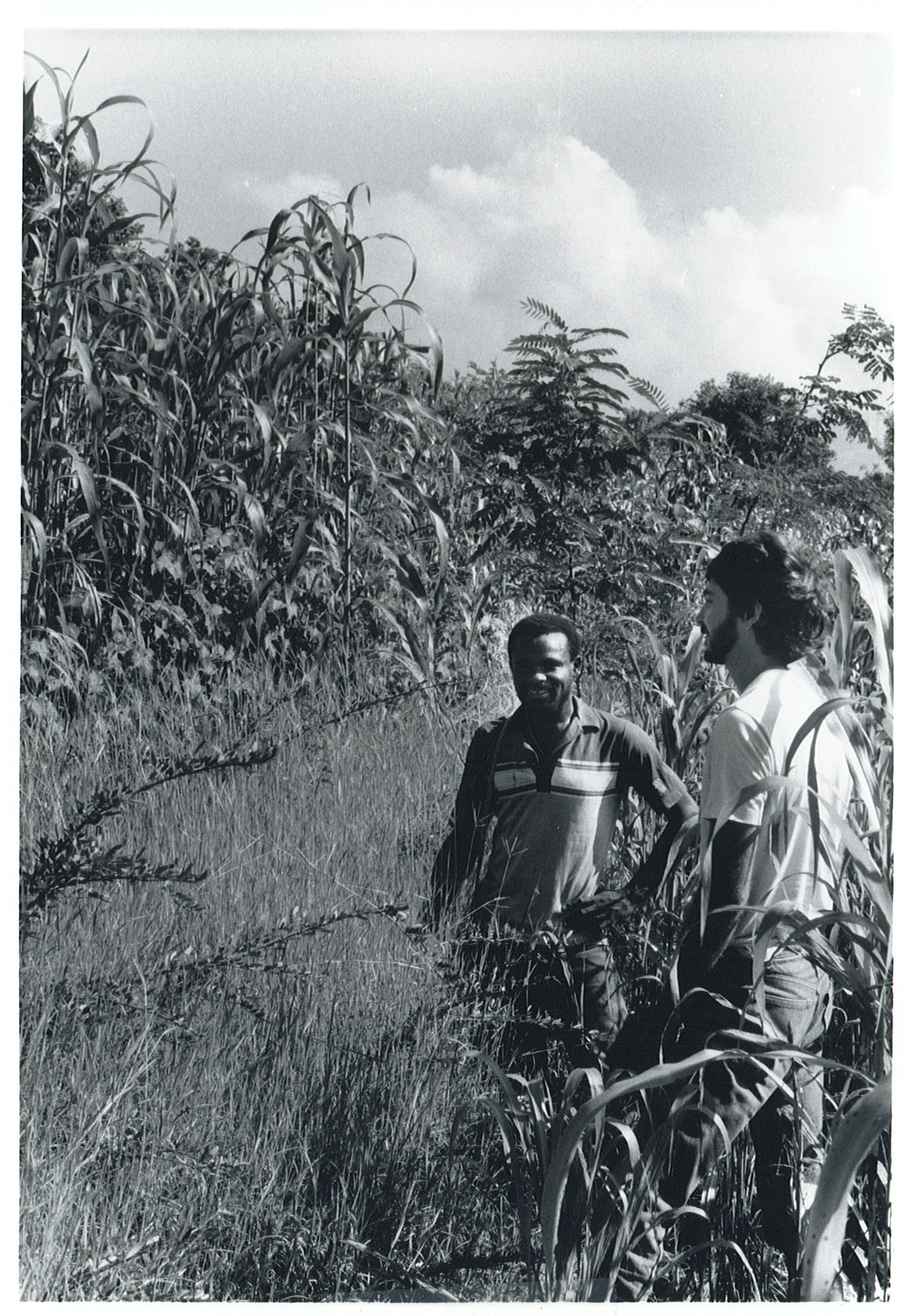 Jean Remy Azor and Jamie Metzler inspect a contour barrier in the Artibonite Valley in 1989.