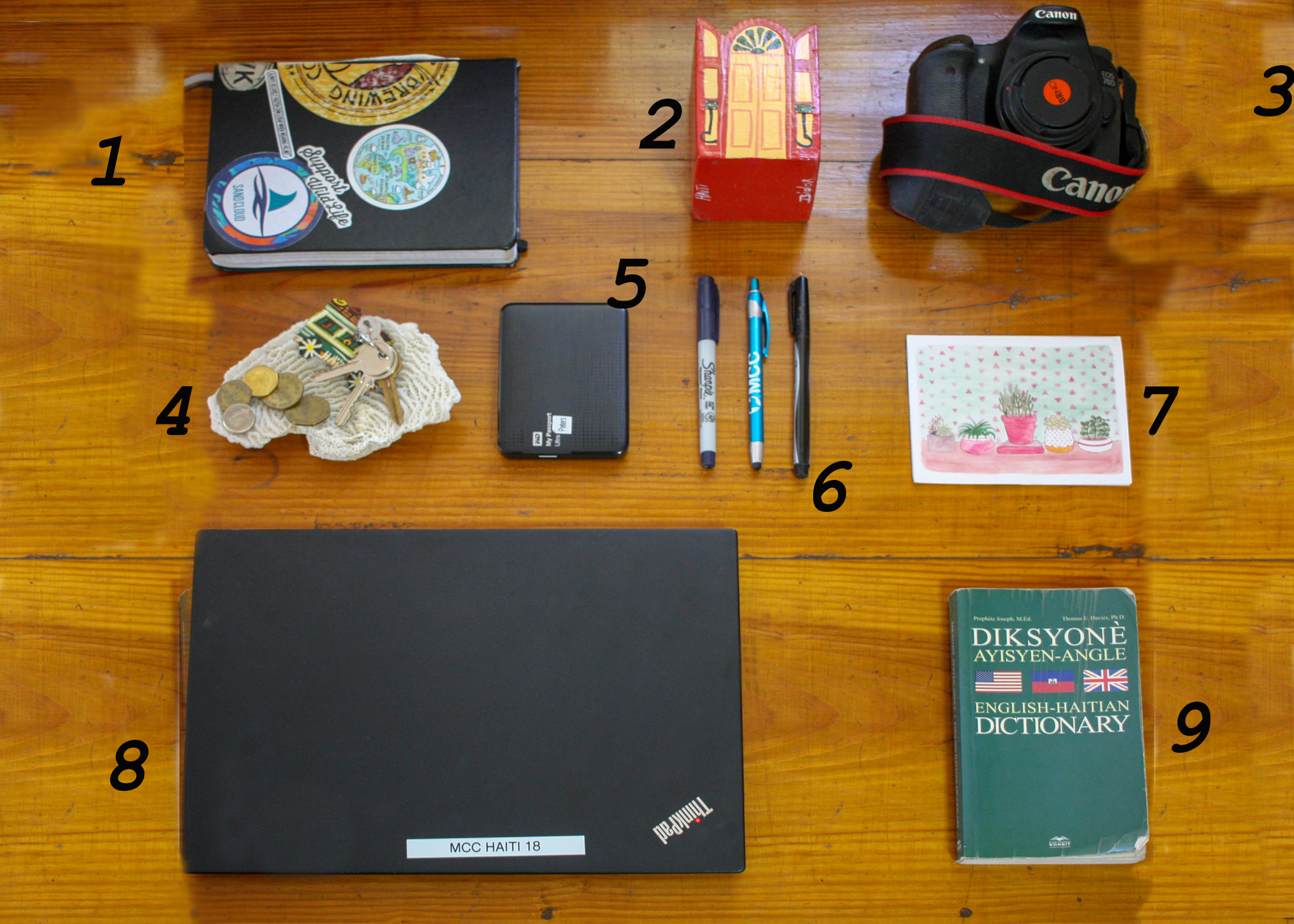 Anatomy of a SALTer's Desk   1. A traveller's notebook is essential for things like writing down people's names, that street with the store with the shirt you liked that you passed on the way to the grocery store, and words you see that you want learn in your new language.  2. An artisanal pen cup adds local color and is a great place to keep your pens.  3. As a photographer, a camera can come in handy sometimes.  4. A coral? Found on the beach makes a great place to hold change for the tap tap (you'll learn about those in the article), and house keys.  5. If you have a lot of files, an external hardrive is key. It's also great for keeping things like all nine seasons of the Office on it. I don't know.  6. Multiple writing utensils, peak the MCC paraphernalia.  7. A letter from home.  8. MCC issued laptop! For working in the office and also watching The Office  9. A trusty dictionary to help maneuver language troubles.
