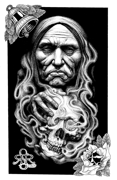 "Illustration entitled ""Massacre Island"" 11""x17"" Ink on Illustration board by Sean Herman"