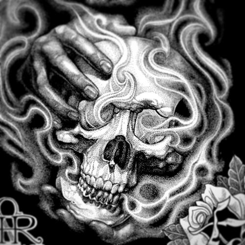 "A close up of Illustration entitled ""Massacre Island"" 11""x17"" Ink on Illustration board by Sean Herman"