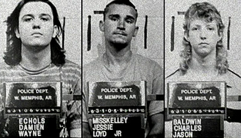 The West Memphis Three, Damien Echols, Jessie Misskelley, and Jason Baldwin  photographed after their arrest in June 1993 by the West Memphis Police Department