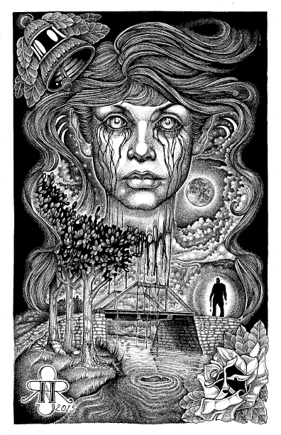 "Illustration entitled ""Cry Baby Bridge"" 11""x17"" Ink on Illustration board by Sean Herman"