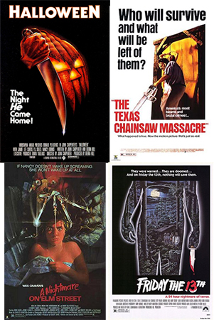 Halloween (1978), The Texas Chainsaw Massacre (1974), A Nightmare on Elm Street (1984), and Friday the 13th (1980) movie posters