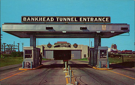 Photo of the old Toll Booth at the Bankhead Tunnel, no longer standing