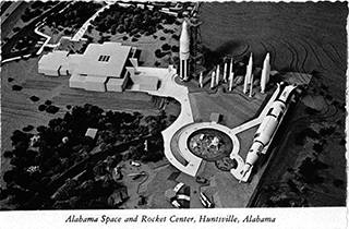 Pictured: Original postcard from US Space and Rocket Center