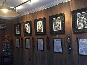 A view of the front gallery at the Serpents of Bienville Gallery.