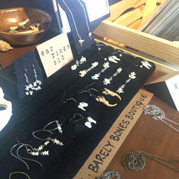 "Photo of the inside of the new Serpents of Bienville Space.  Awesome jewelry by Ally Clements, ""Barely Bones Boutique"""