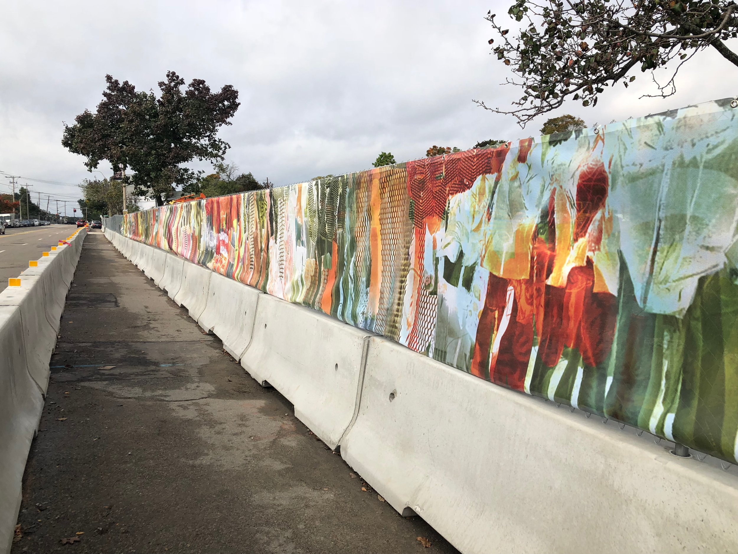 washington place corridor digital mural for construction site