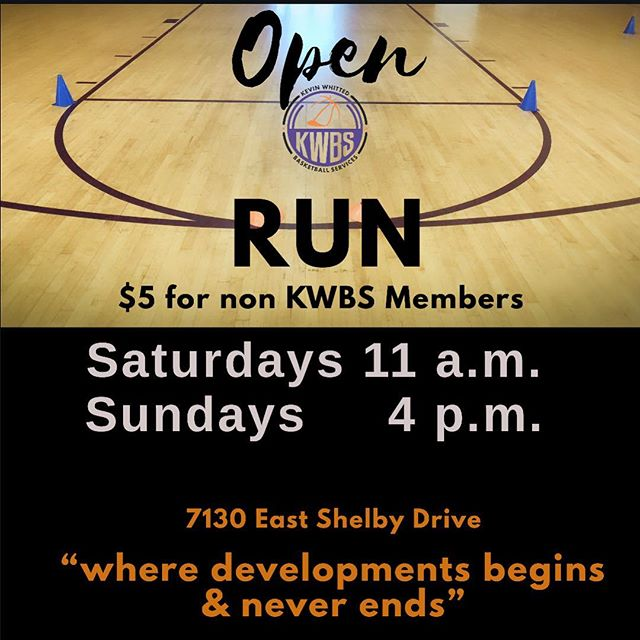 It's Time For Pickup!! Saturday at 11a.m.  and Sunday 4 p.m.  Middle and High School Male and Female Players. $5 for Non KWBS MEMBERS  7130 East Shelby Drive -this is ORGANIZED PLAY!- #openrun #pickup #kwbs #playerdevelopment #youthdevelopment #pickupbasketball
