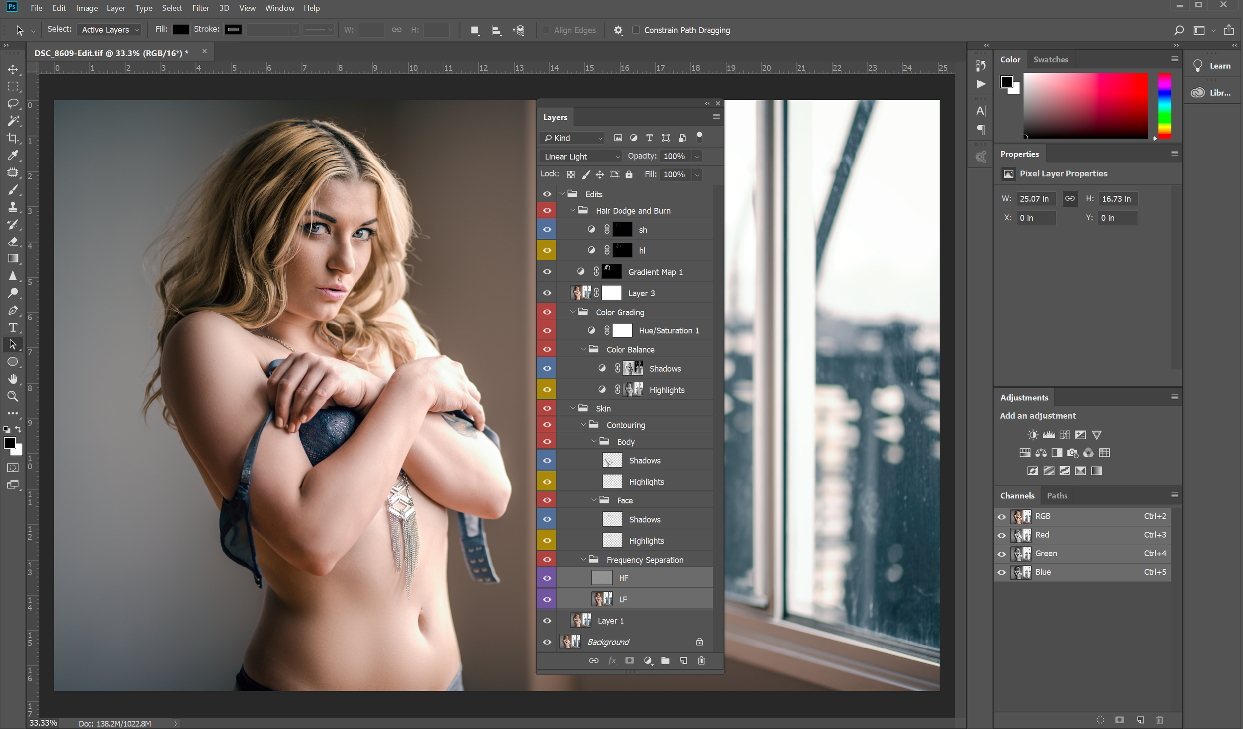 Images are processed using a combination of Lightroom and Photoshop, and I use professional techniques to color grade, retouch skin, and remove tattoos. We're working with layers and brushes, not sliders and one click photo filters.
