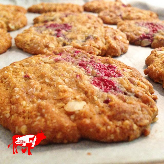 Raspberry Anzac Biscuits Photo: Tim Elwin