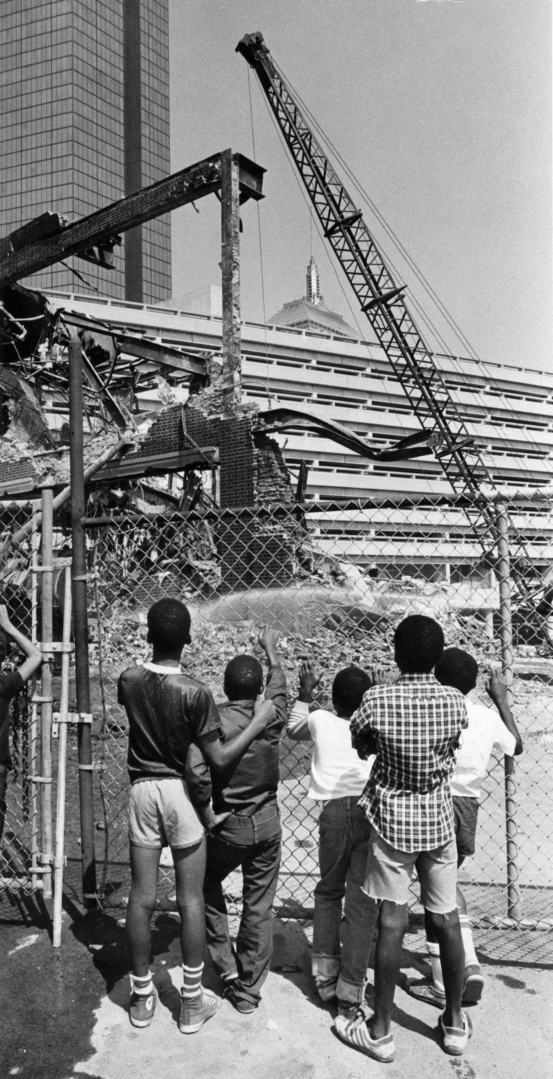 GLOBE STAFF/FILE  Demolition crews began work on taking down a later version of Back Bay station in 1981.