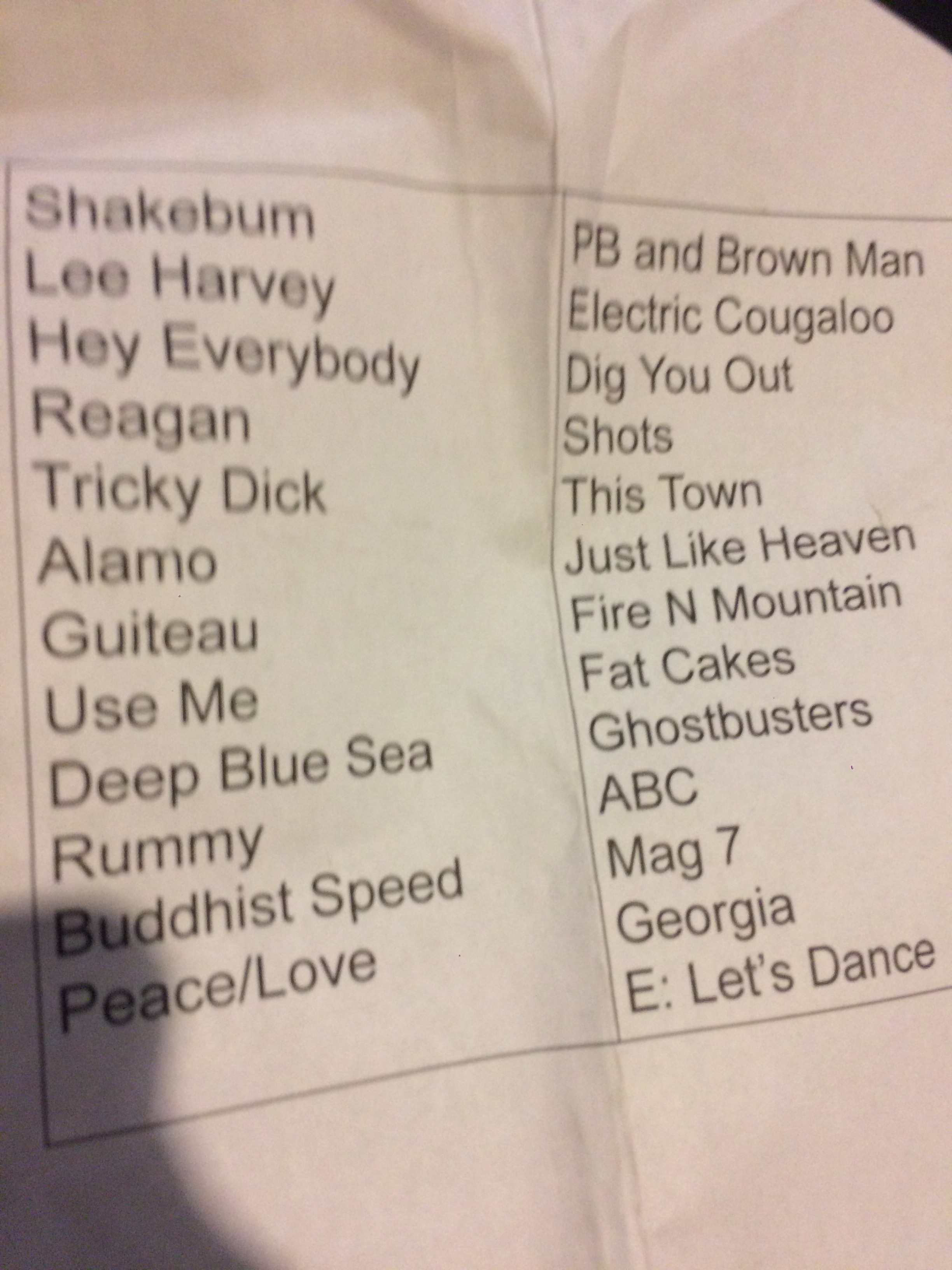 Setlist from Dutch Treat 2.25.17. We skipped Alamo, put Guiteau second-to-last in the first set, and Rick sang Reagan.