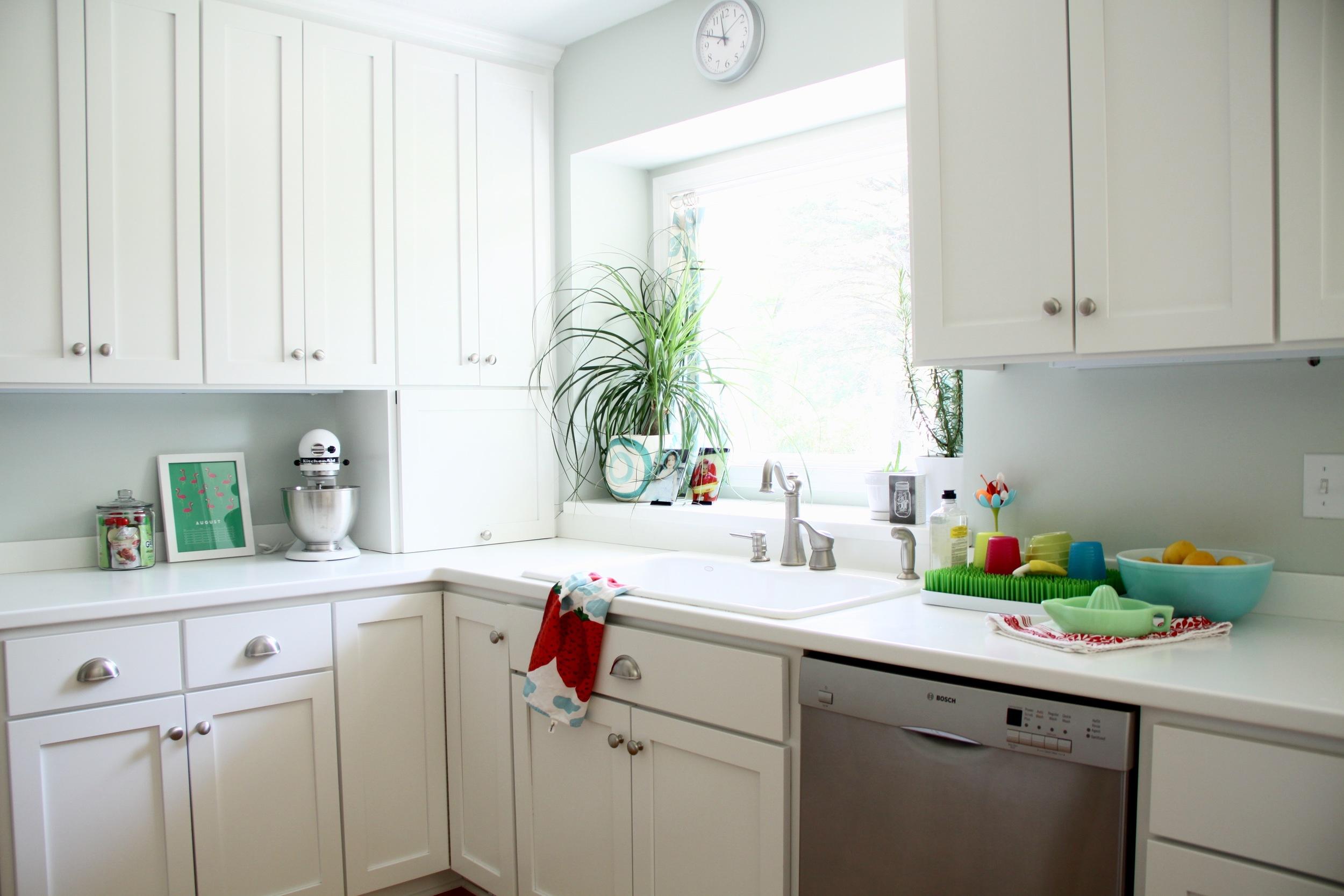 White Kitchen with Corian Countertops