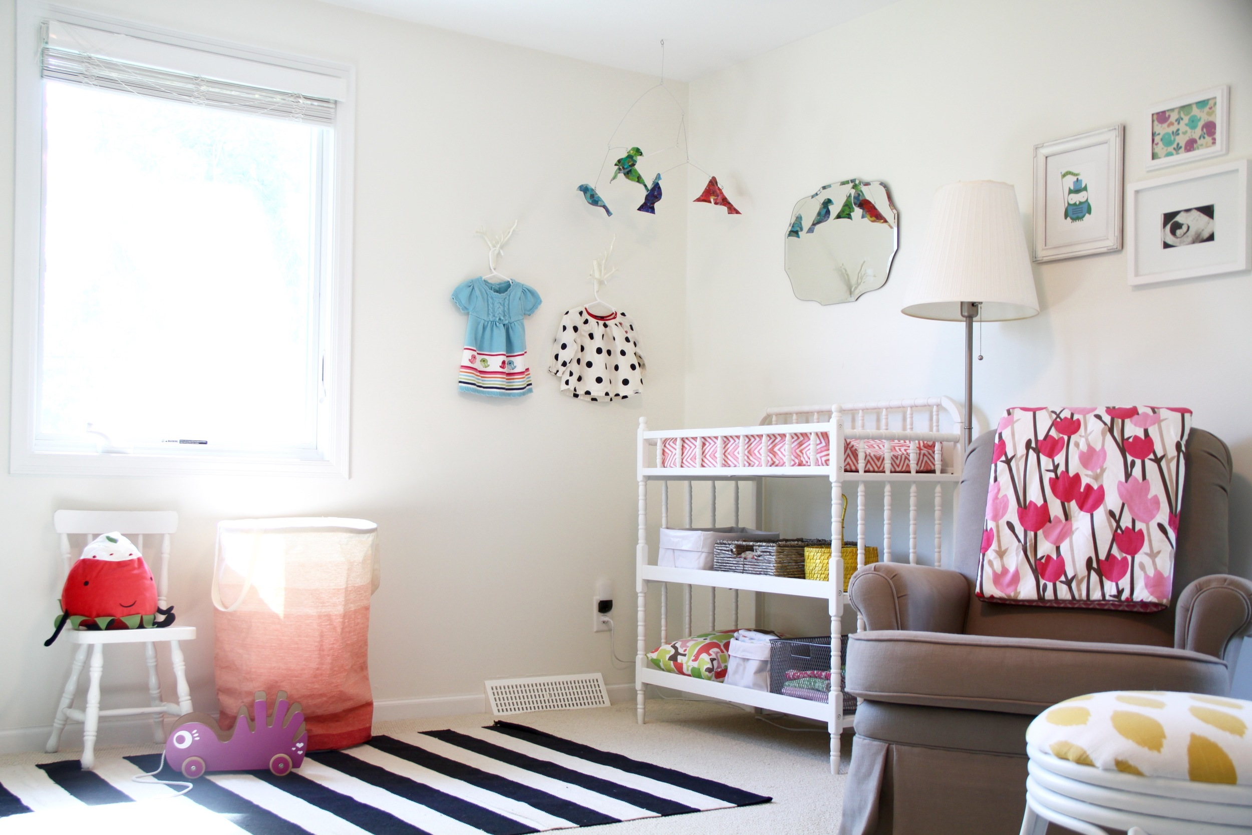 Nursery Jenny Lind Changing Table and Striped Rug