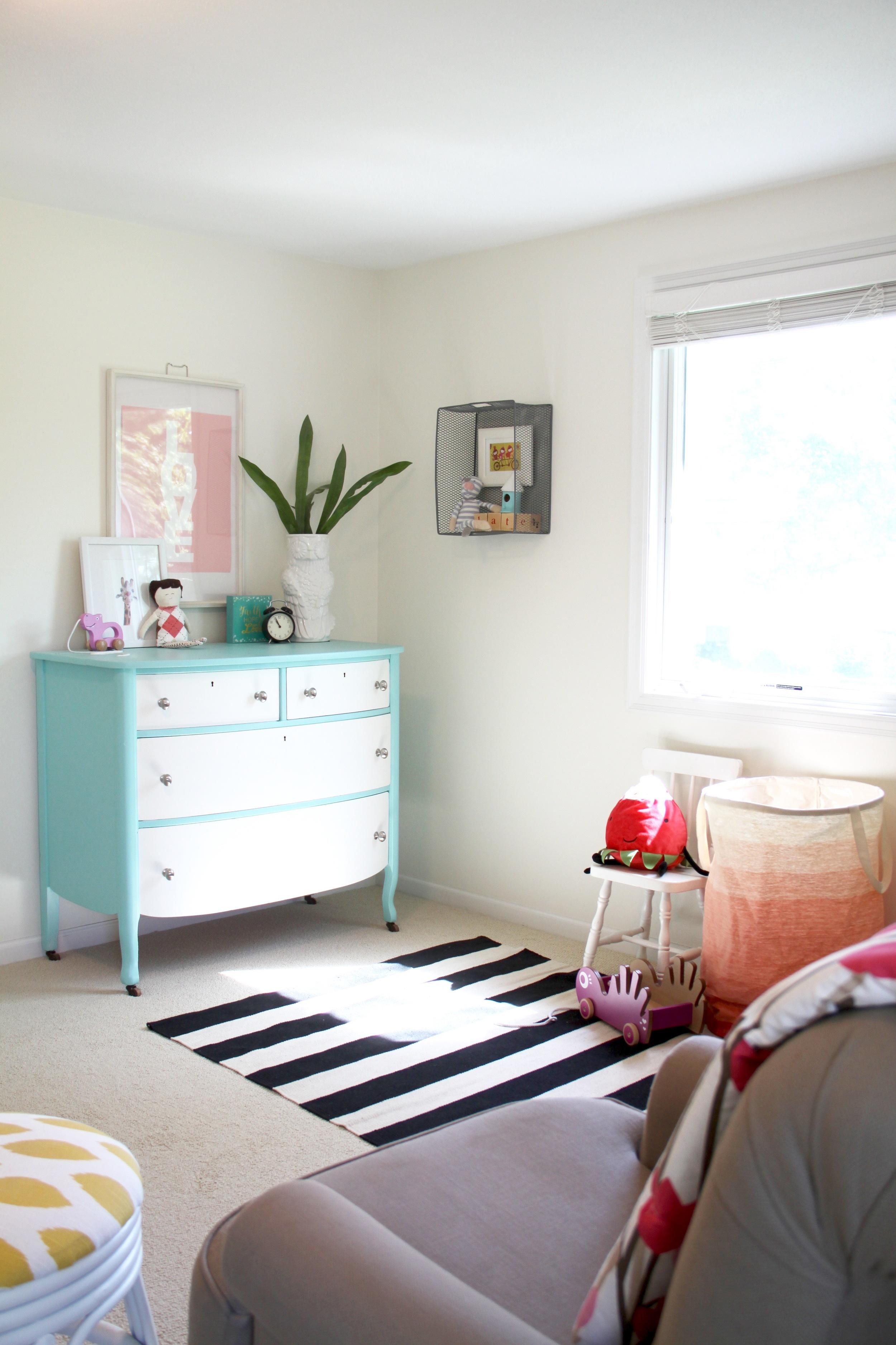 Nursery Striped Rug and Painted Dresser