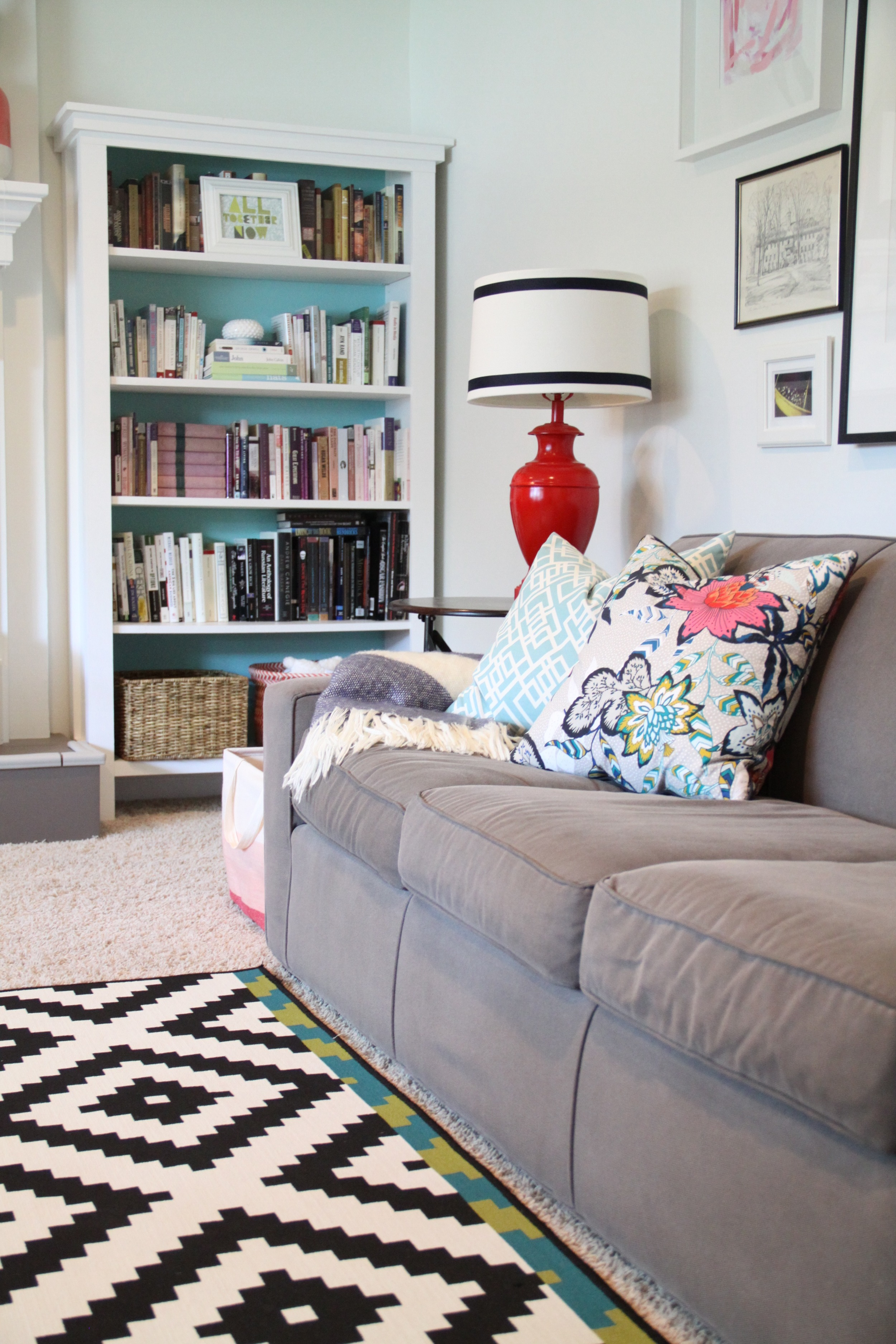 Living Room DIY Bookshelves with Gallery Wall