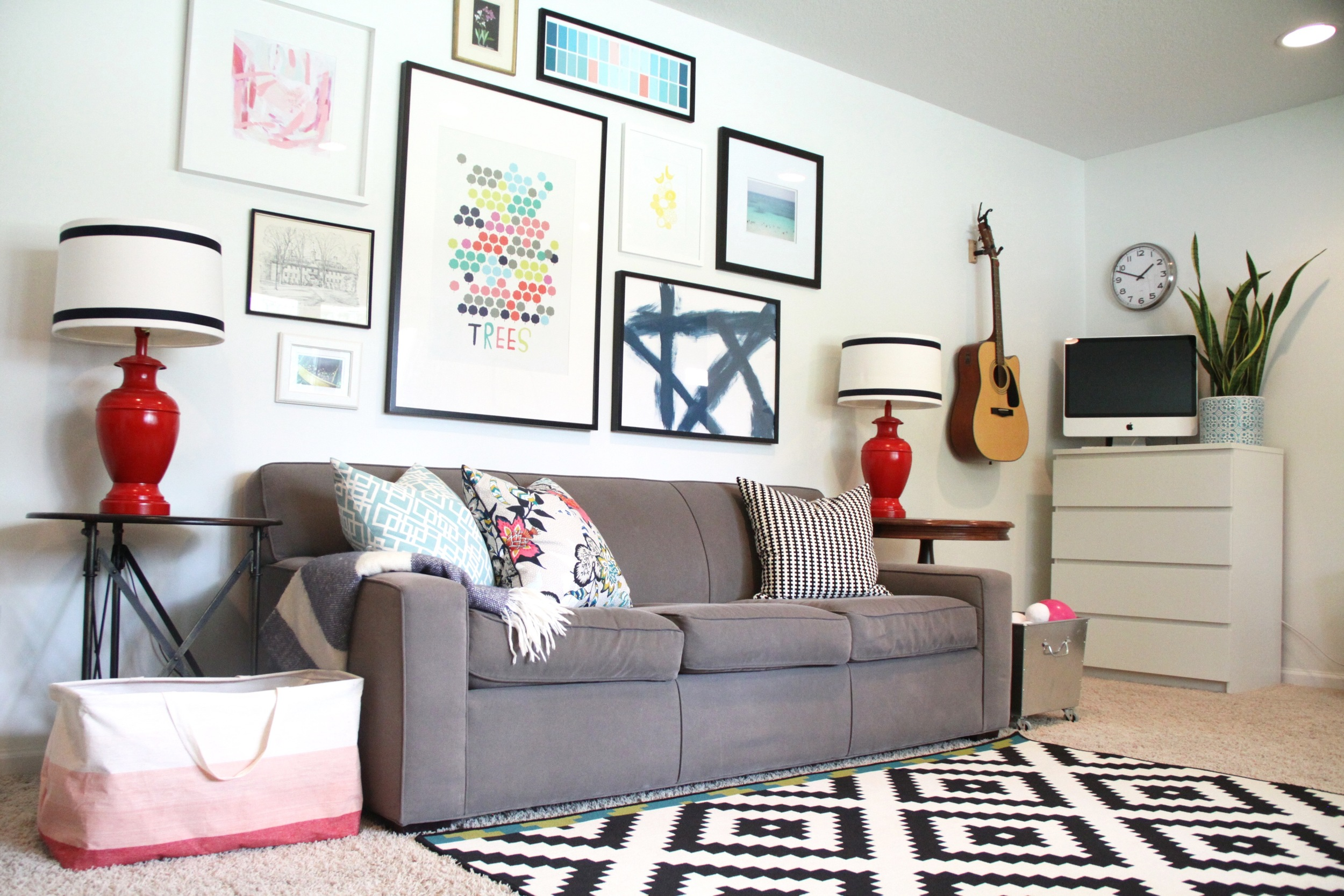 Living Room Gallery Wall with White Walls