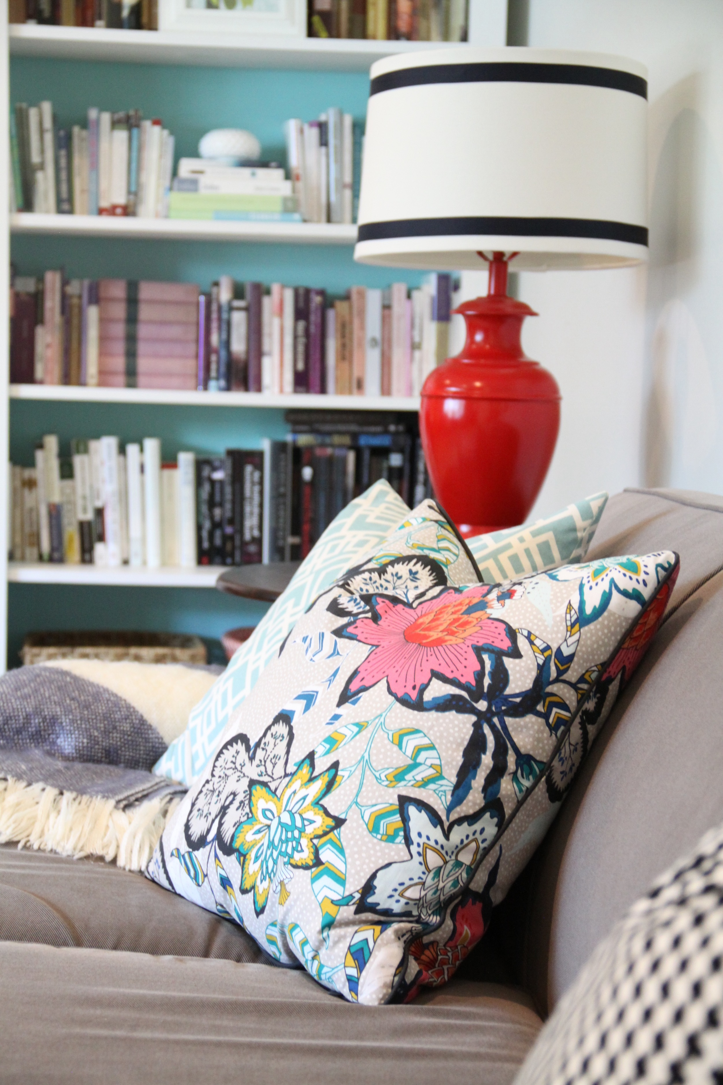 Living Room Colorful Pillow and DIY Bookshelves