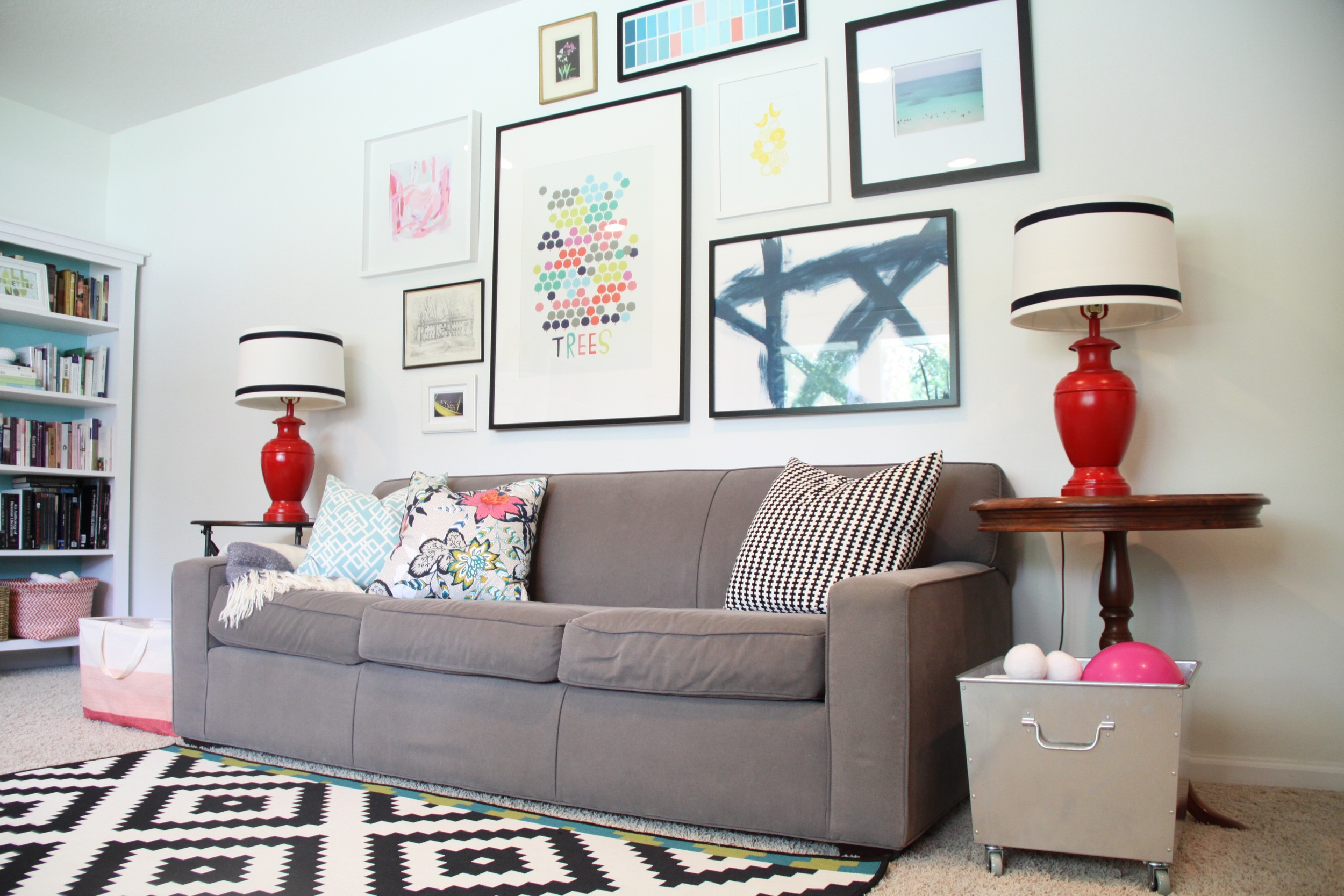 Living Room with Gallery Wall and Graphic Prints