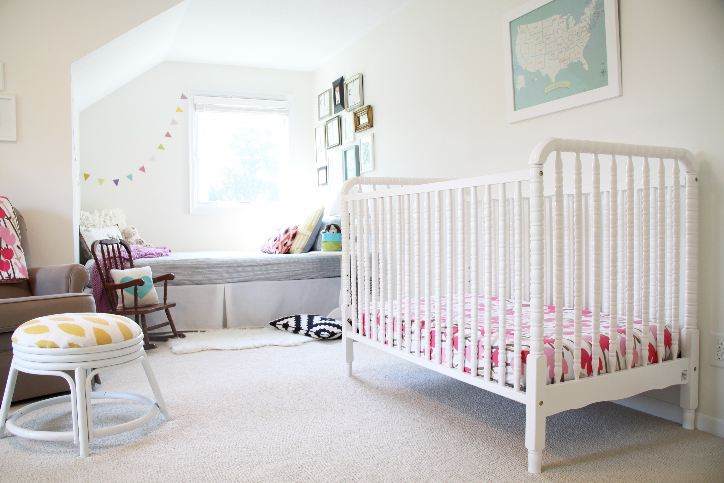 Nursery White Jenny Lind Crib and Reading Corner