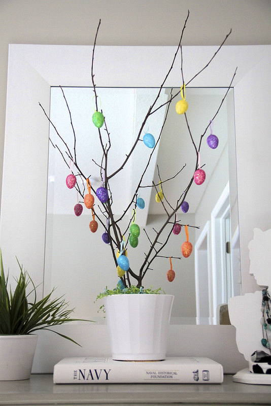 DIY Easter Tree With Mirror Behind