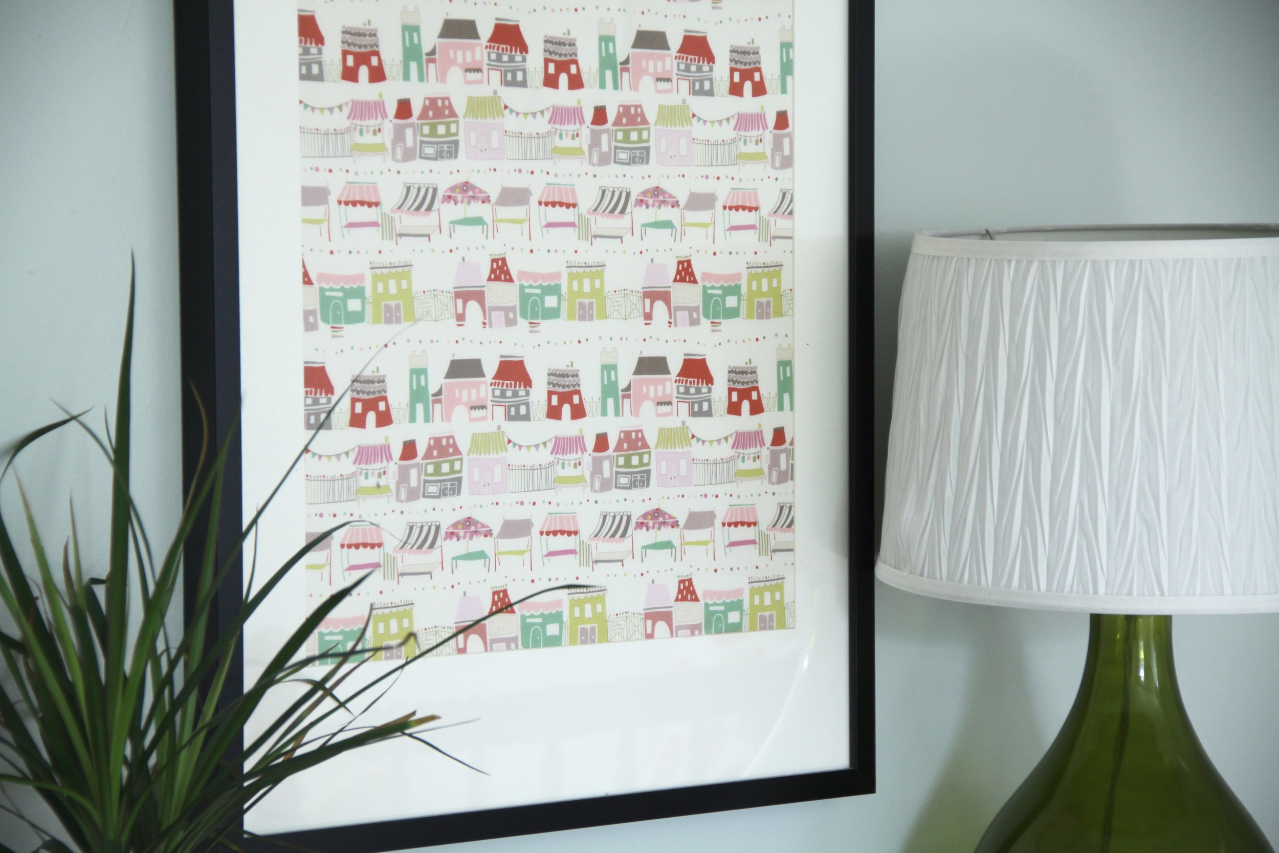 Easy DIY Framed Fabric Art Little Houses