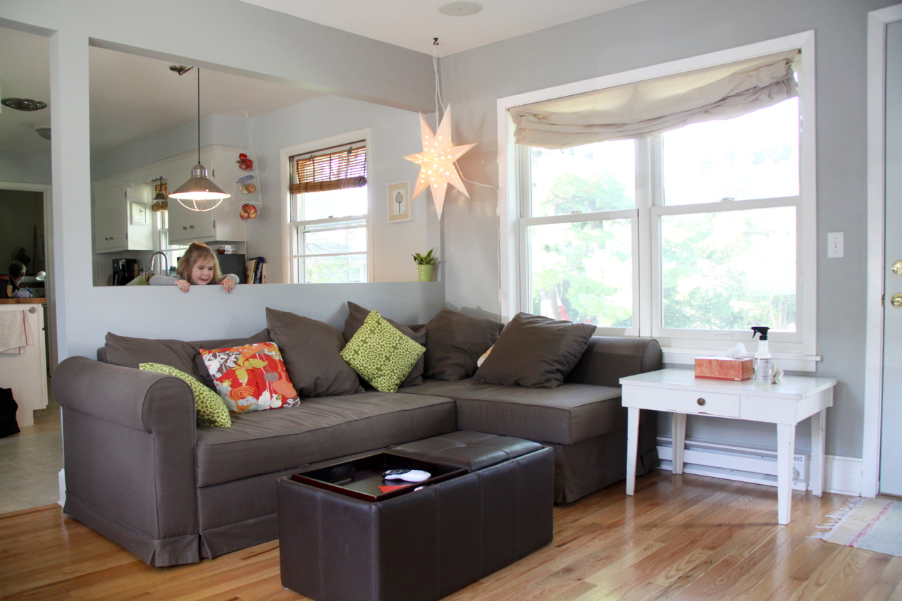 Cozy Living Room with Brown Couch