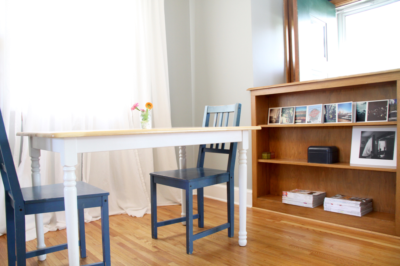 Dining Area with Built-In Bookshelf