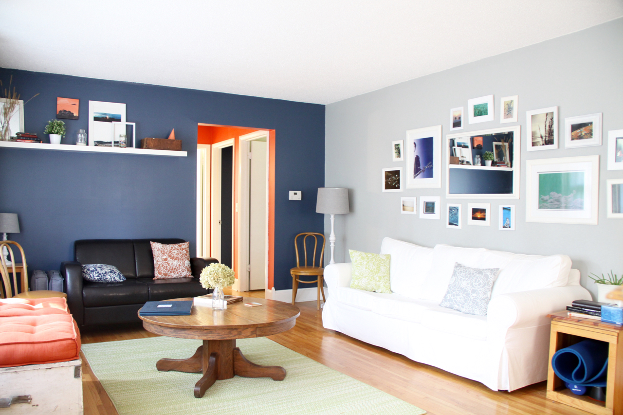 Living Room with Gallery Wall, Mirror, White Couch