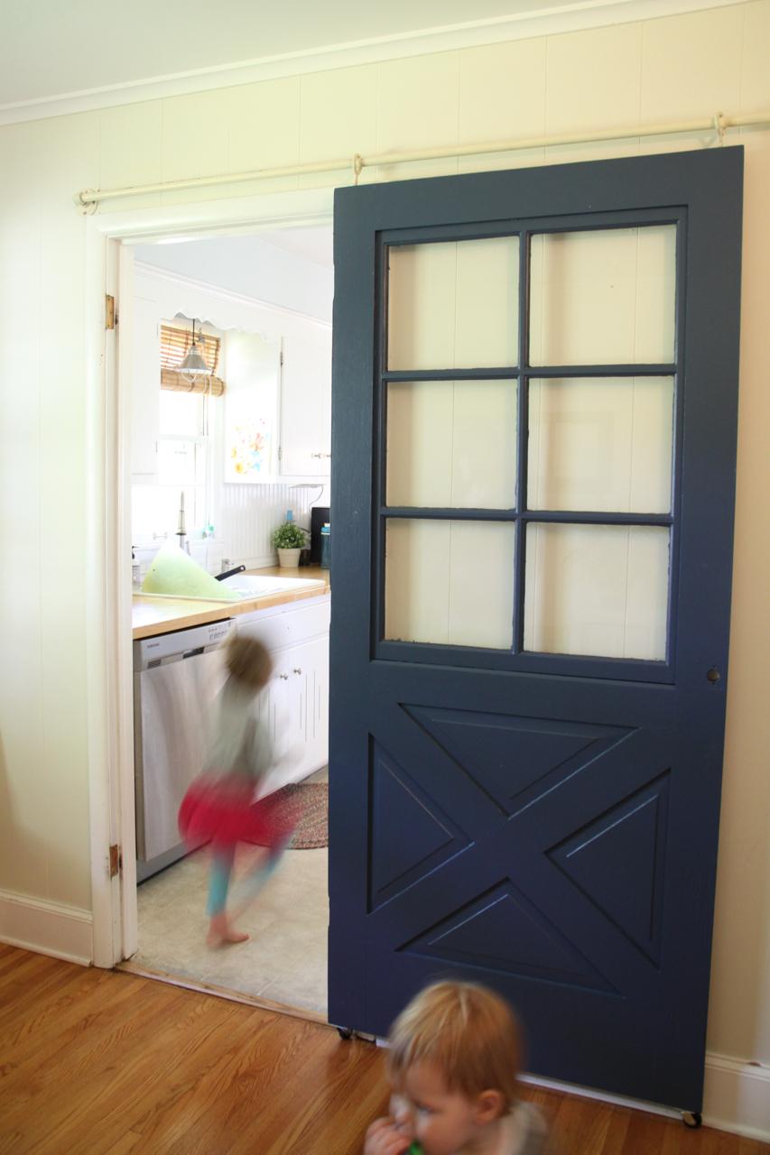 Sliding Barn Door to Kitchen
