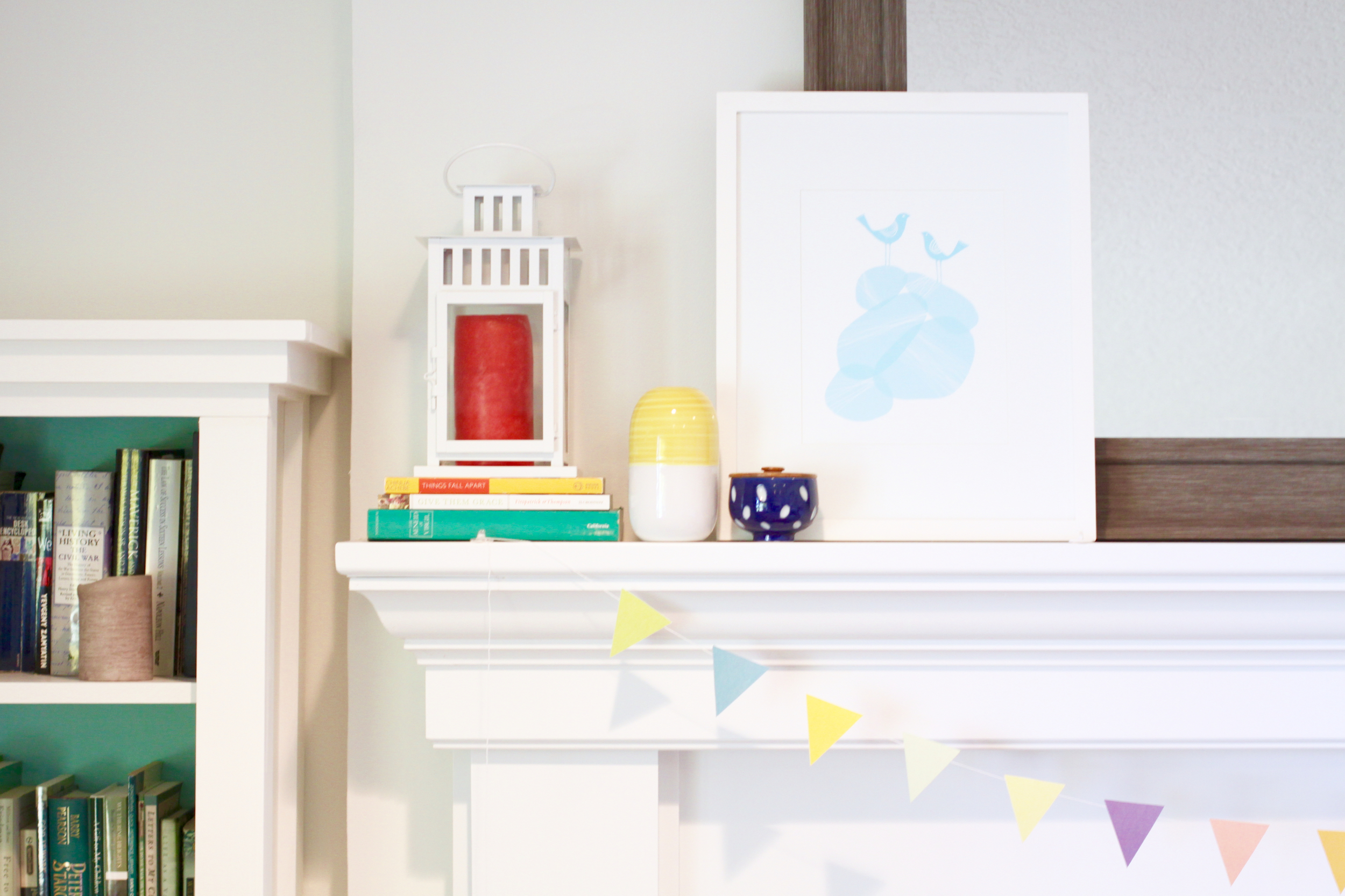 West Elm Frame, Colorful Mantle with Art and Mirror