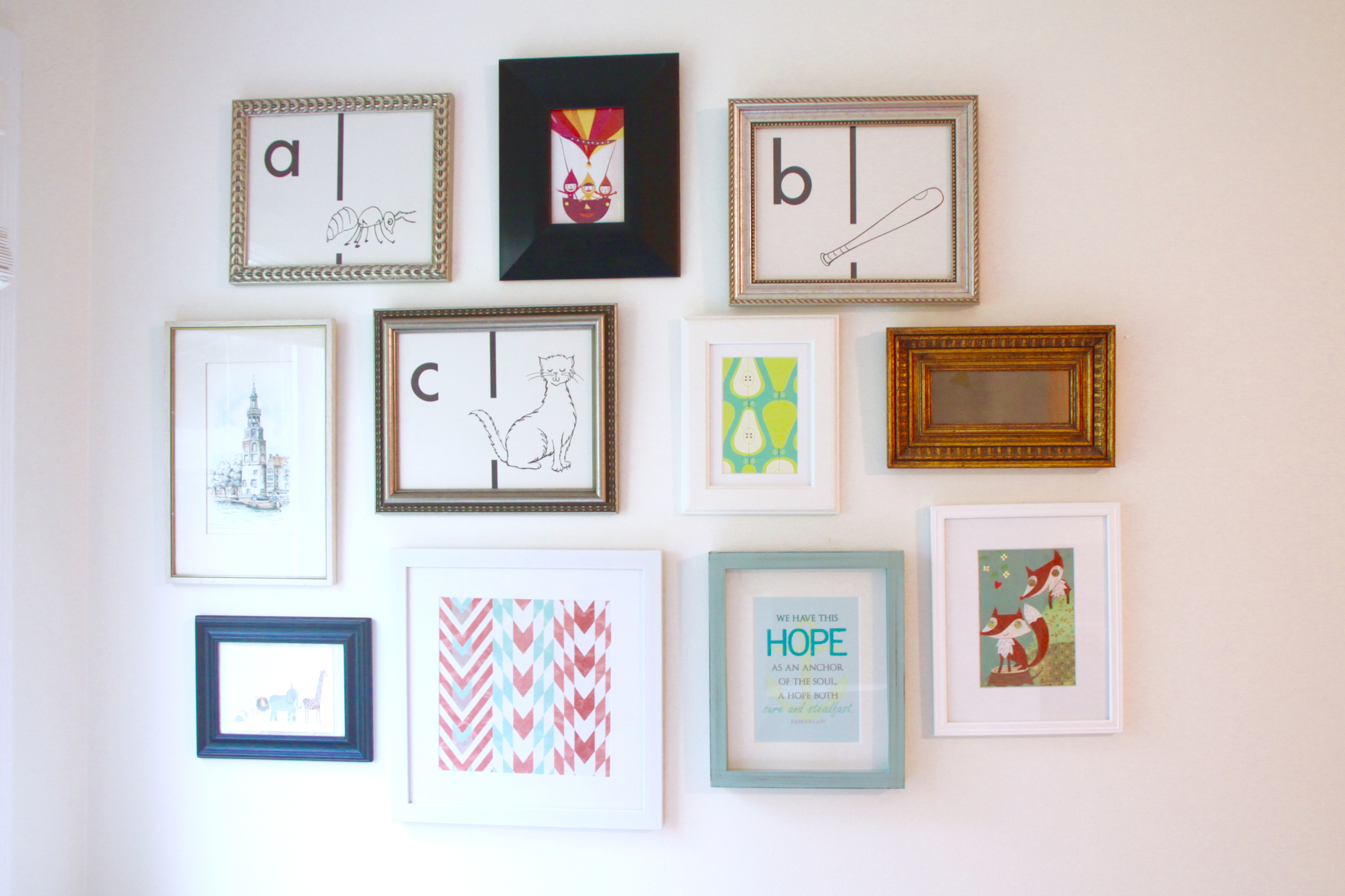 Gallery Wall with Mixture of Frame Styles