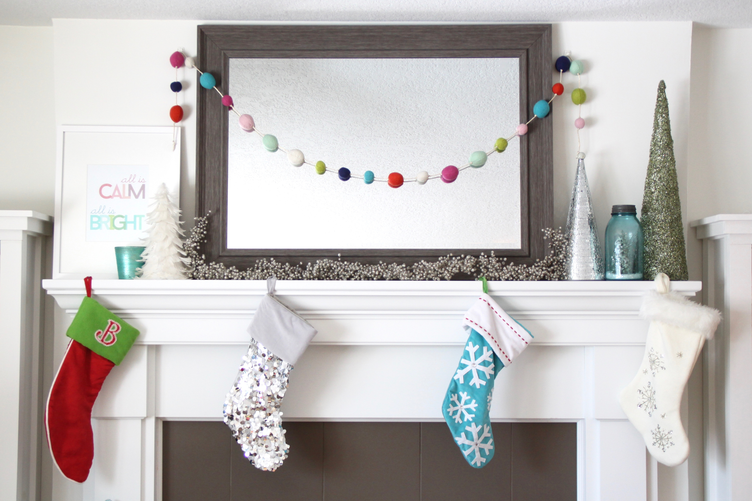 Christmas Mantel Decorated with Bright Colors