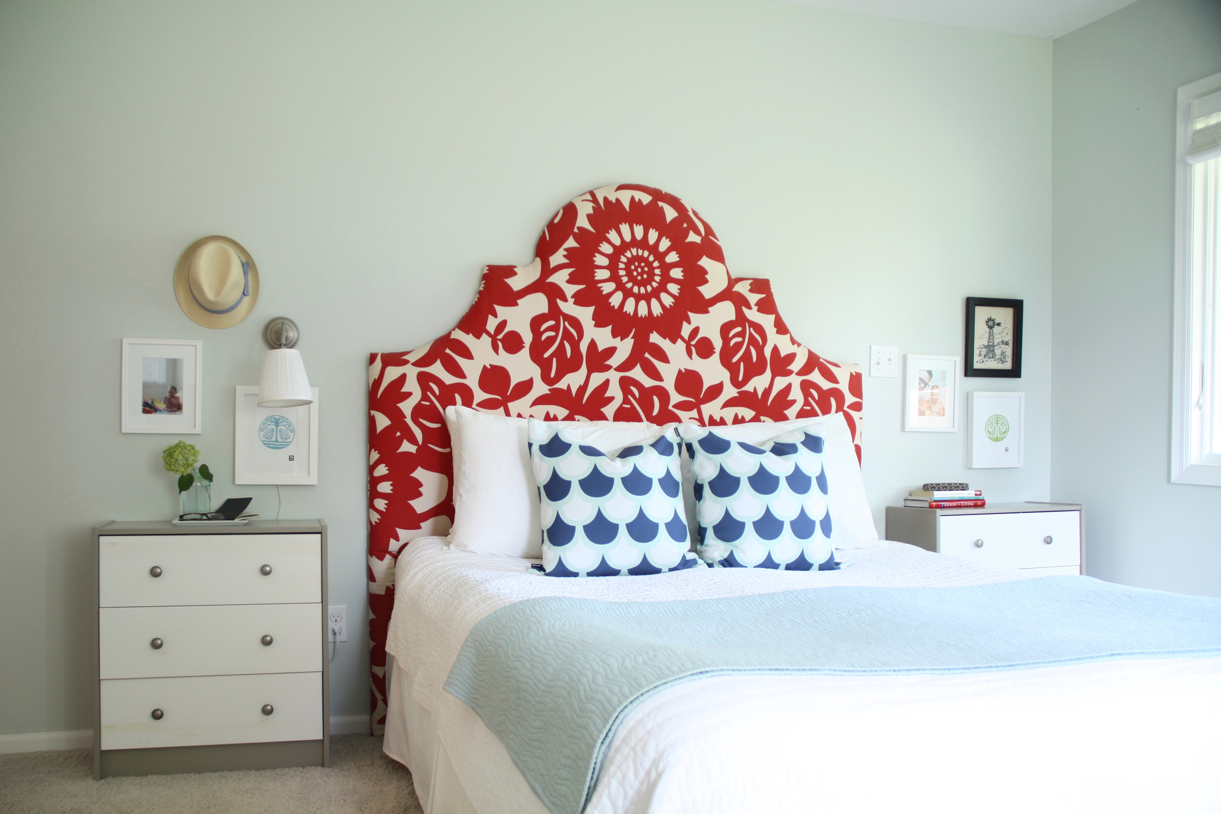 Master Bedroom with Red Headboard and Pale Blue Walls (Healing Aloe)