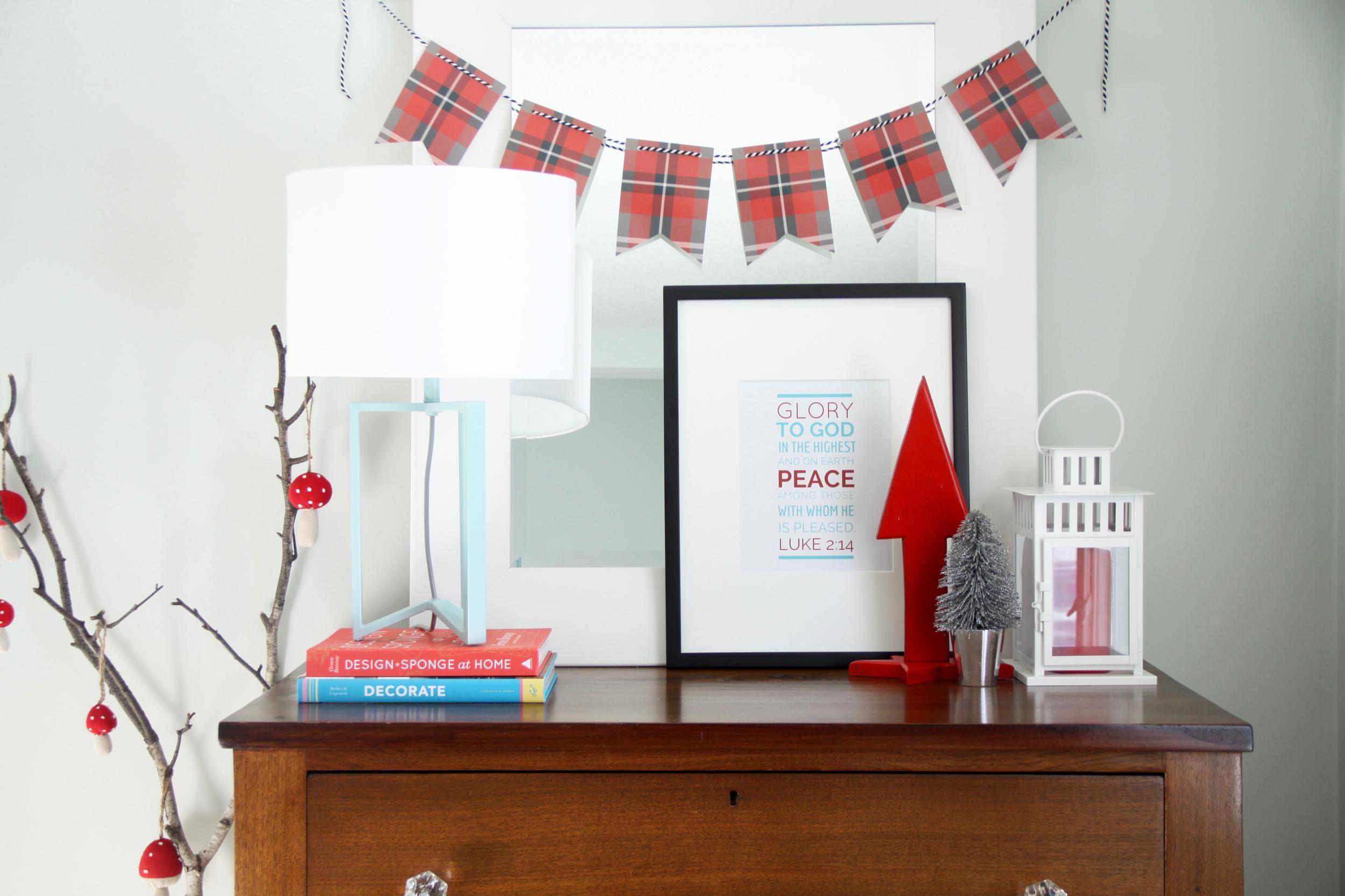 Campy Christmas Decor with Free Christmas Art Printable