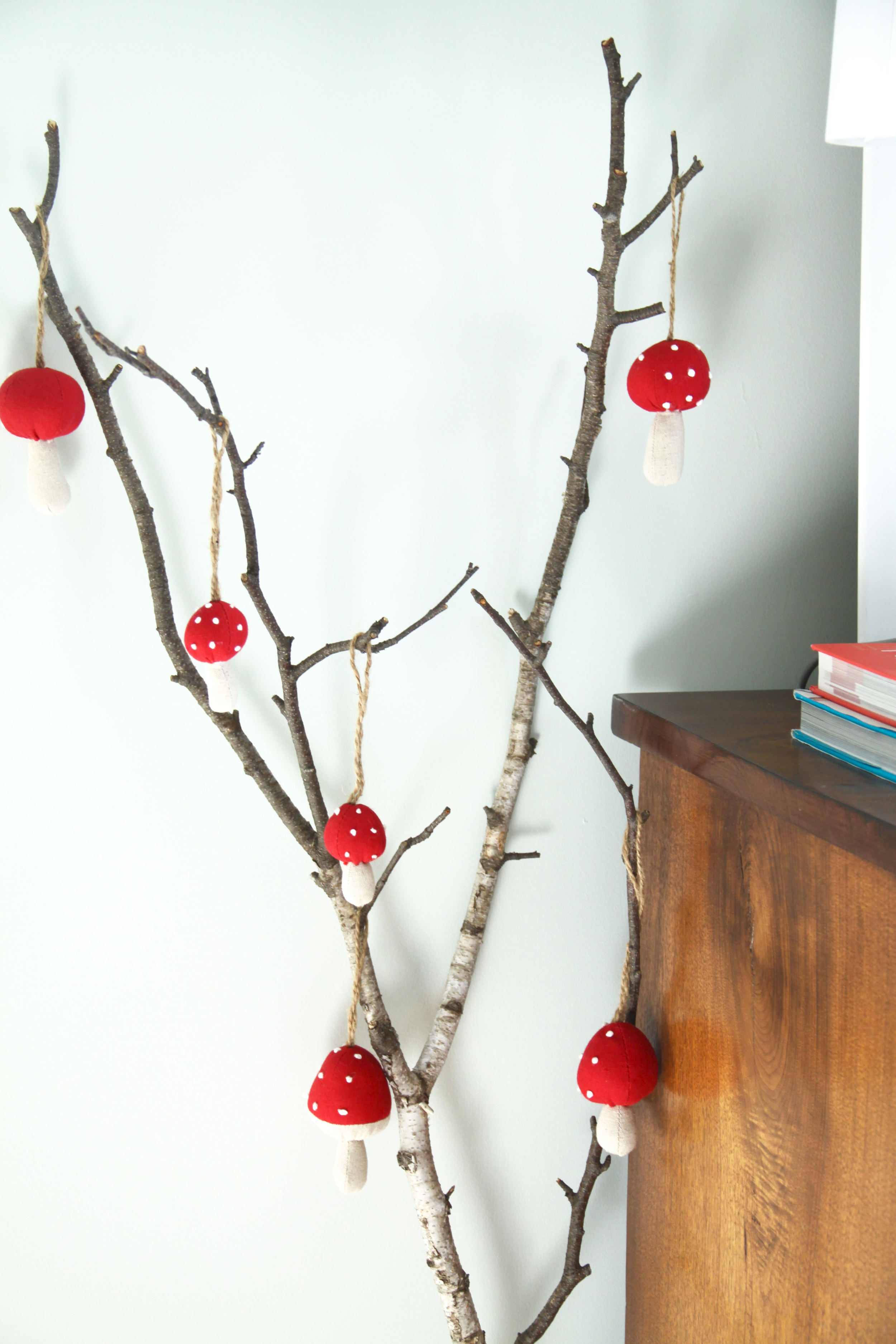 Birch Branch with Christmas Ornaments