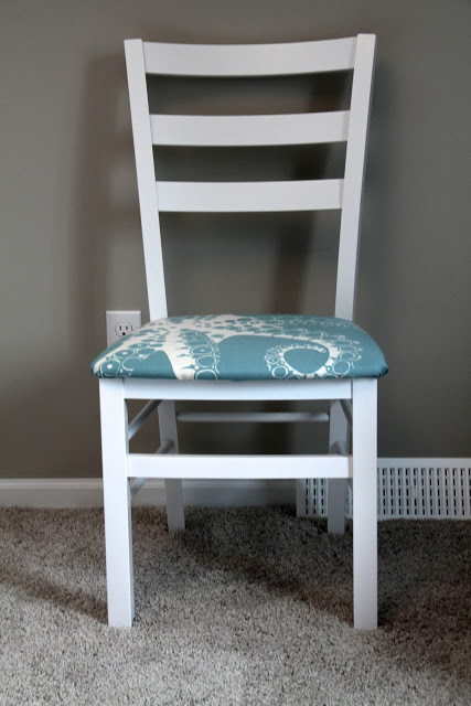 Dining Chair with Aqua Fabric