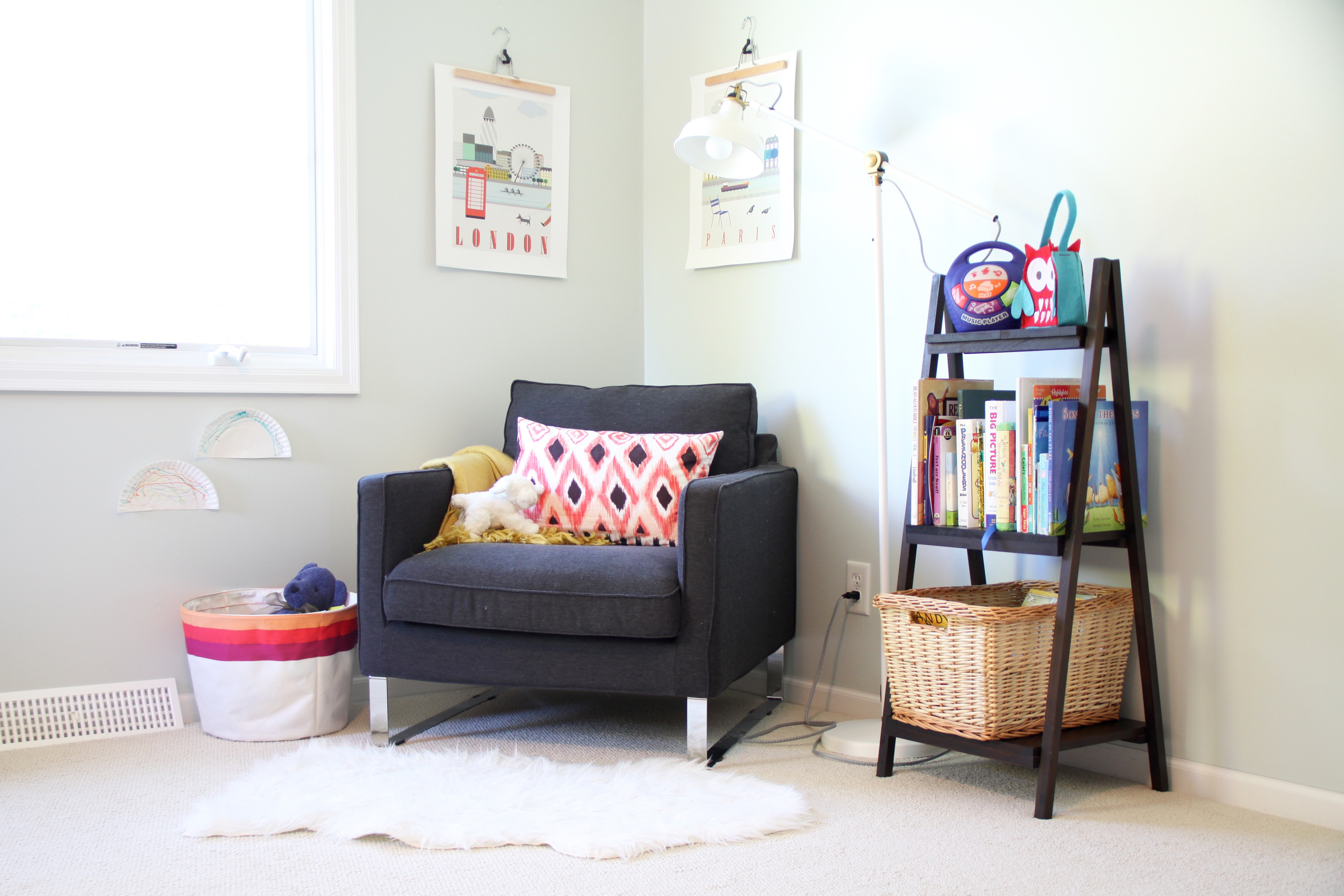 Colorful Girl's Room with Reading Corner