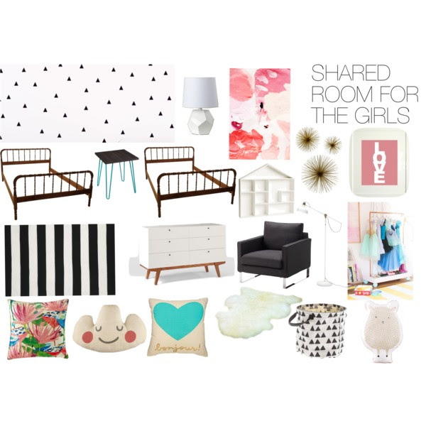 Moodboard for Colorful Girls' Shared Room