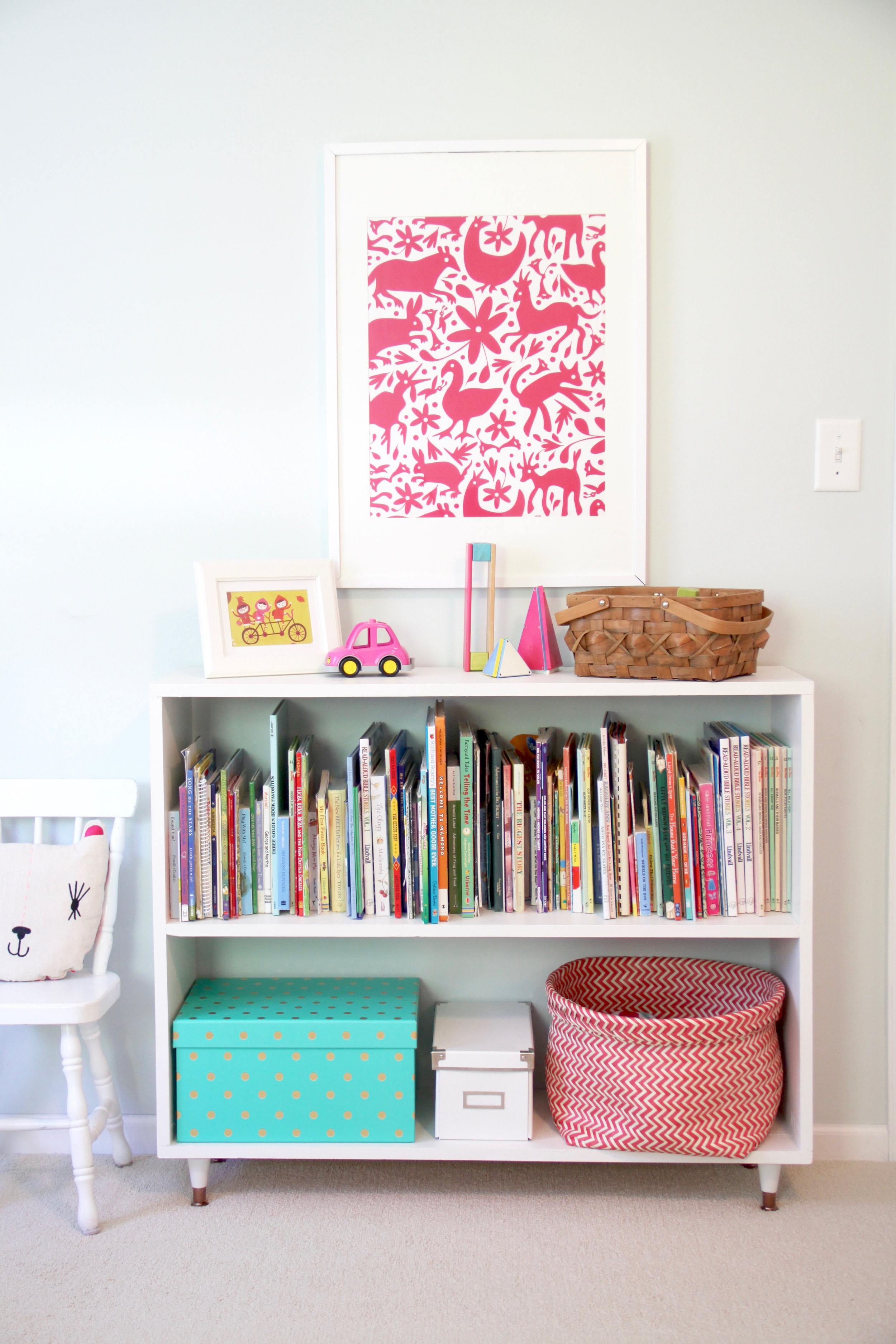 DIY Minimalist Bookshelf with Midcentury Gold Legs Childrens Room