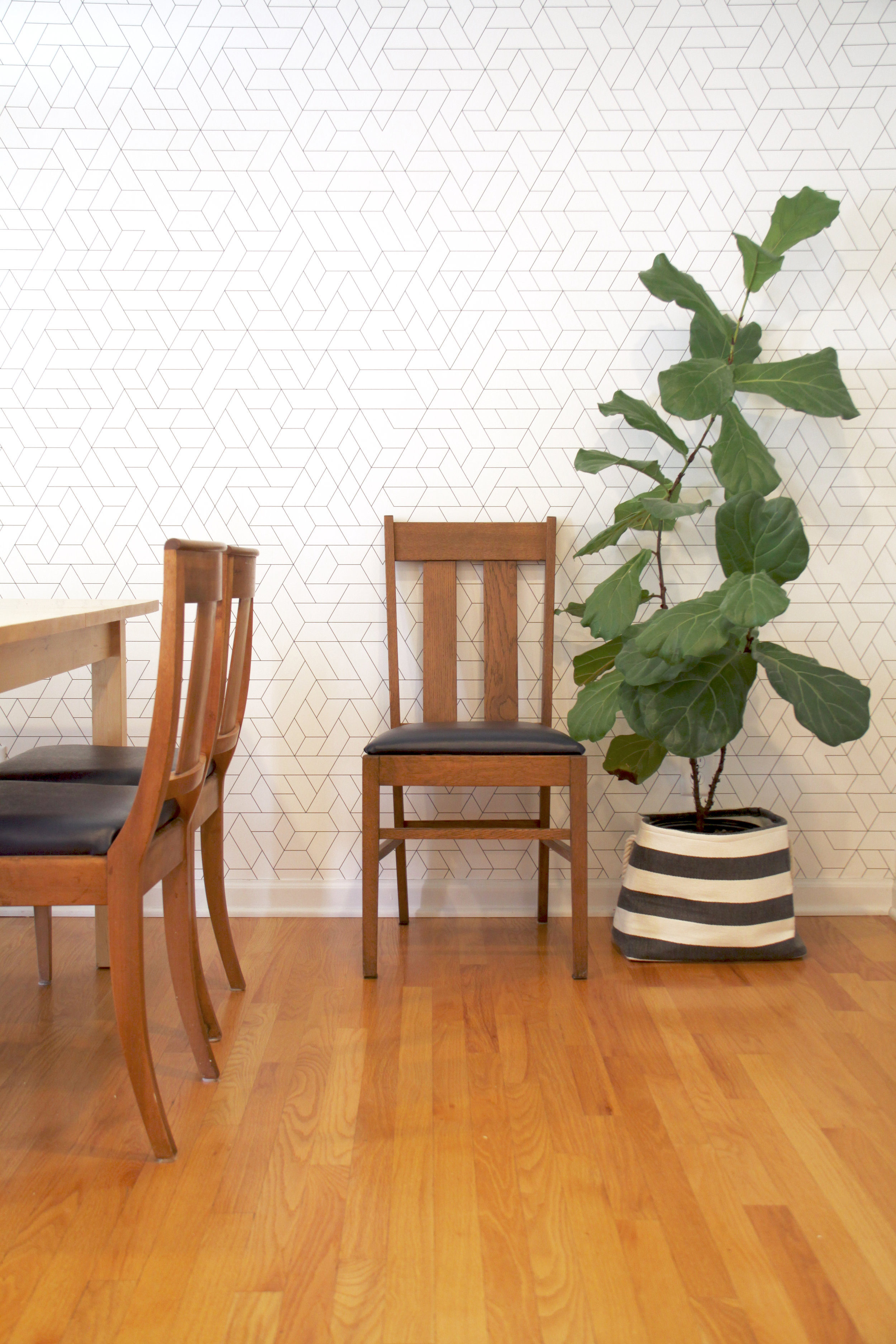 Midcentury Dining Room with Wallpaper