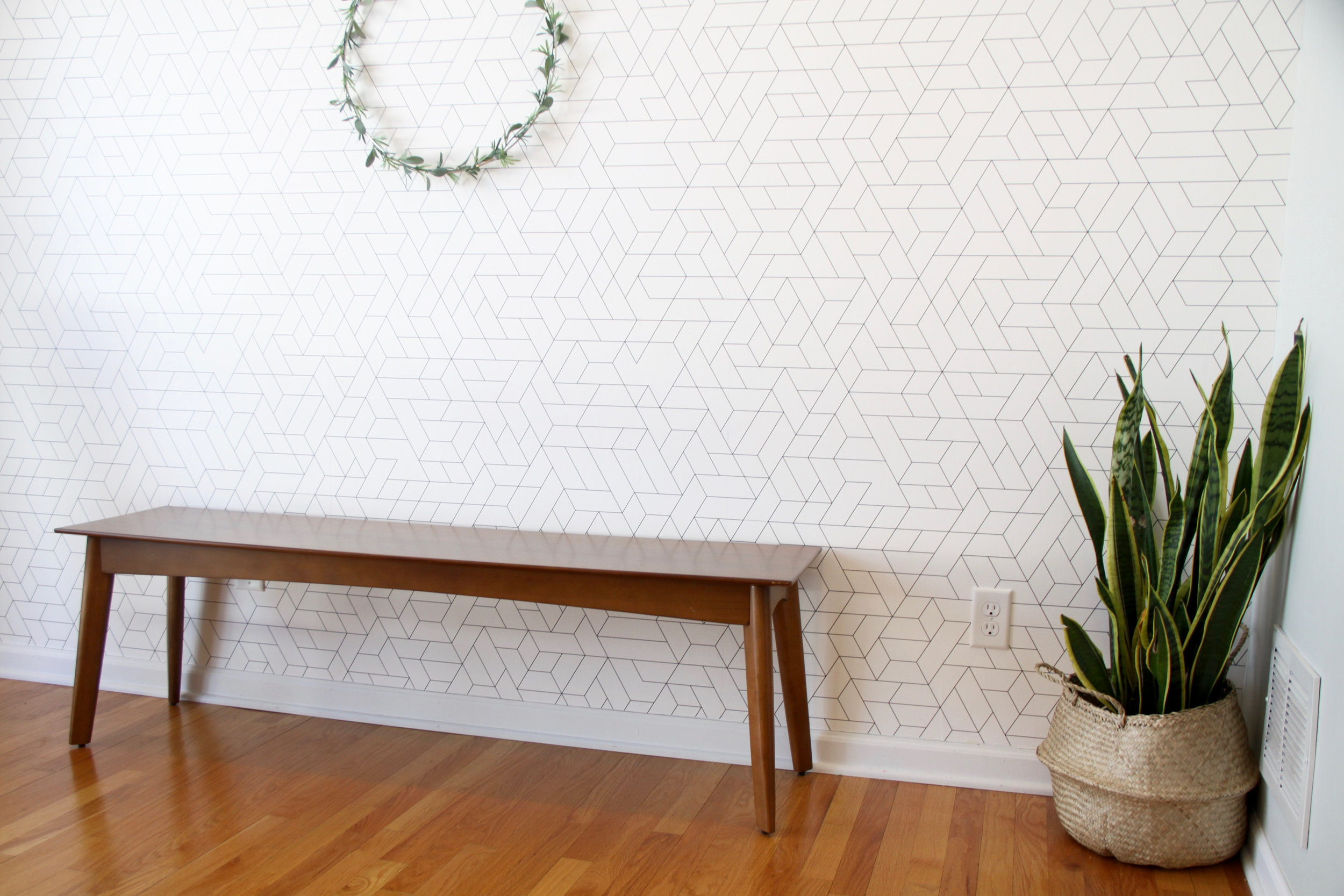 Mid century dining bench with wallpaper